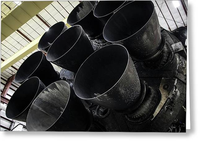 Merlin Engines On Falcon 9 Rocket From Spacex Greeting Card by Spacex/science Photo Library