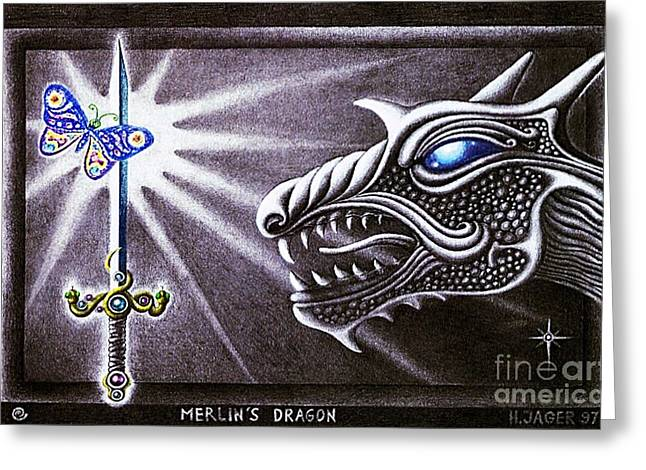 Greeting Card featuring the drawing Merlin's Dragon by Hartmut Jager