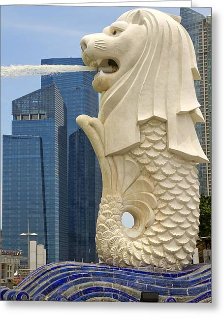 Merlion Statue By Singapore River Greeting Card by David Gn