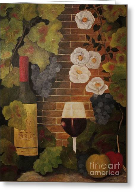 Greeting Card featuring the painting Merlot For The Love Of Wine by John Stuart Webbstock