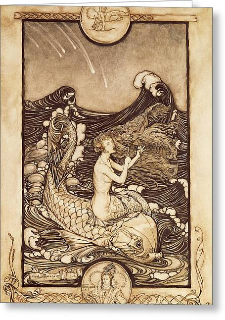 Mermaid And Dolphin From A Midsummer Nights Dream Greeting Card by Arthur Rackham