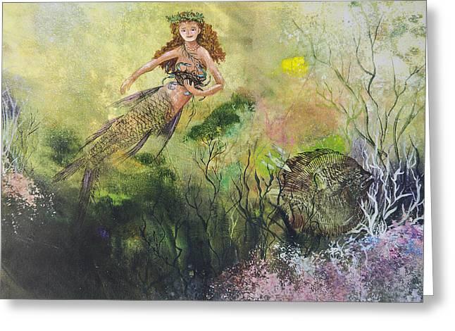 Mermaid And Friends Greeting Card by Nancy Gorr