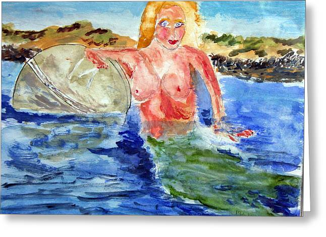 Mermaid And The Buoy Greeting Card