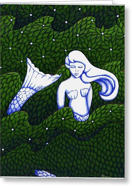 Mermaid At The Garden Greeting Card