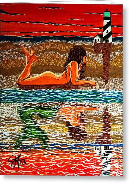 Greeting Card featuring the painting Mermaid Day Dreaming  by Jackie Carpenter