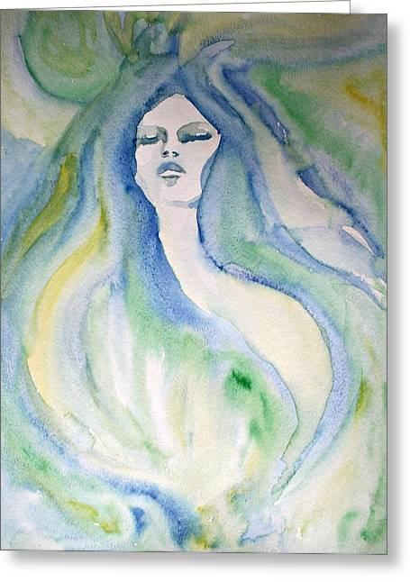 Mermaid Dream Greeting Card by Alma Yamazaki