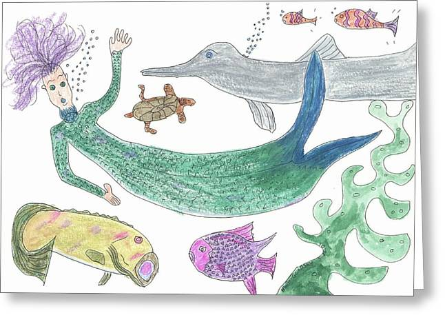 Mermaid Hello Greeting Card by Helen Holden-Gladsky