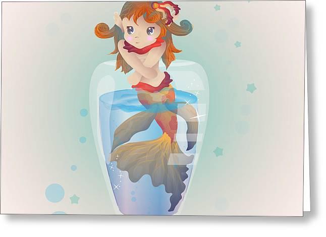 Mermaid In A Glass Greeting Card