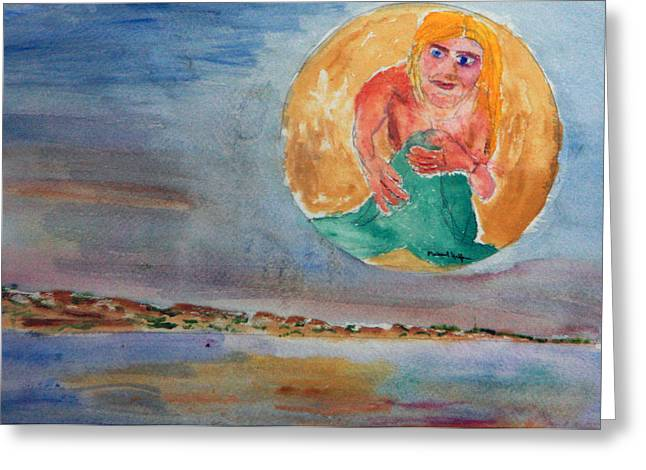 Mermaid In The Moon Greeting Card