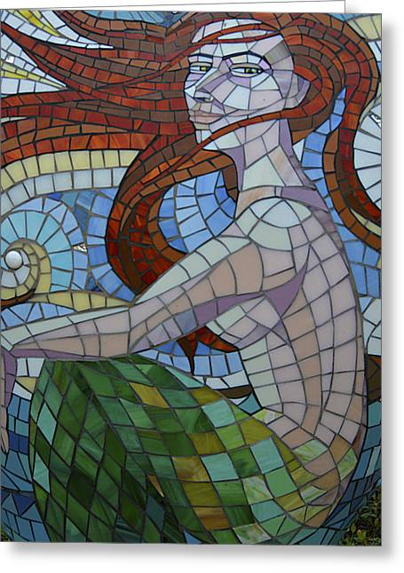 Mermaid Multi-colored Glass Mosaic  Greeting Card