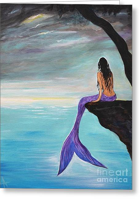 Mermaid Oasis Greeting Card by Leslie Allen