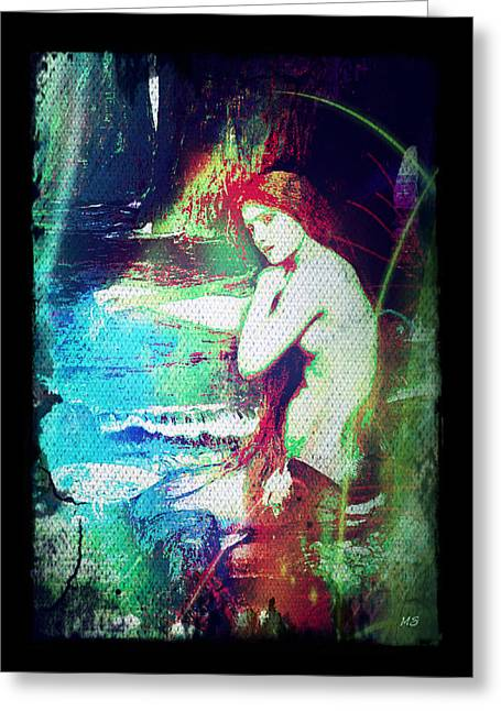 Greeting Card featuring the digital art Mermaid Of The Tides by Absinthe Art By Michelle LeAnn Scott
