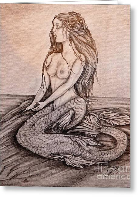 Mermaid On Rock Greeting Card by Valarie Pacheco