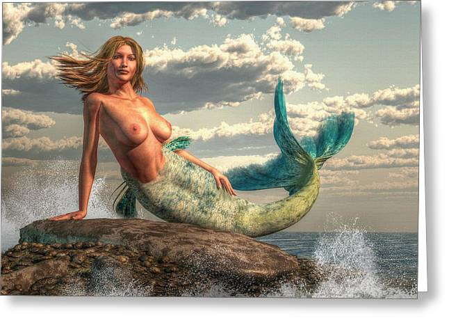 Greeting Card featuring the painting Mermaid On The Rocks by Kaylee Mason
