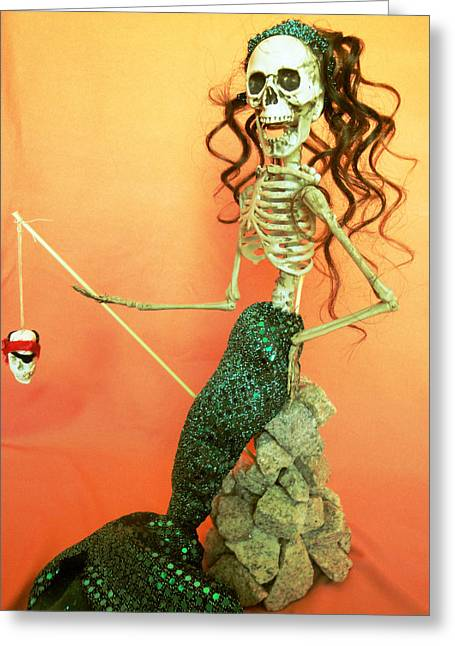 Mermaid On The Rocks Greeting Card by Sandra Lewis