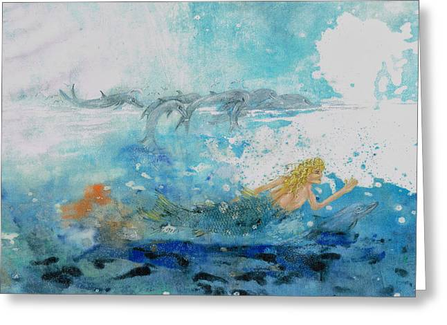 Mermaid Swimming With Dolphins Greeting Card