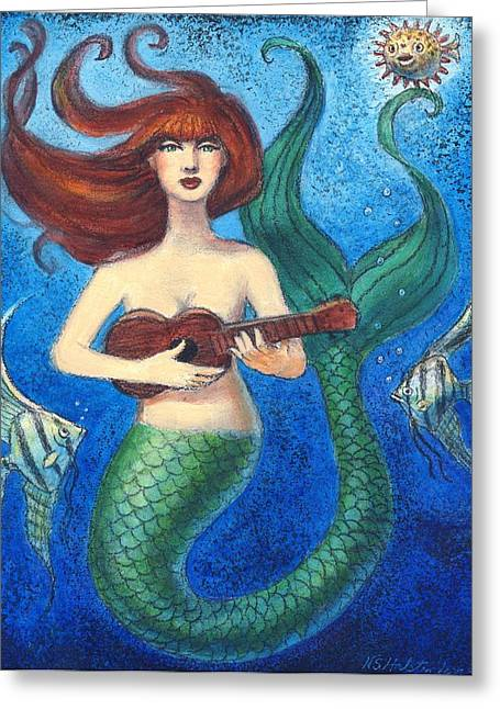 Greeting Card featuring the painting Mermaid Ukulele Angels by Sue Halstenberg
