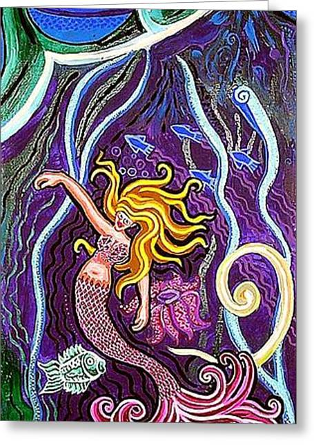 Mermaid Under The Sea Greeting Card by Genevieve Esson