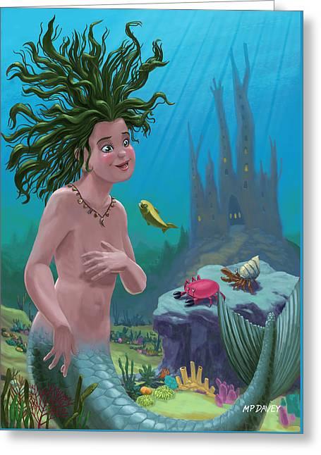 Mermaid Underwater City Greeting Card by Martin Davey