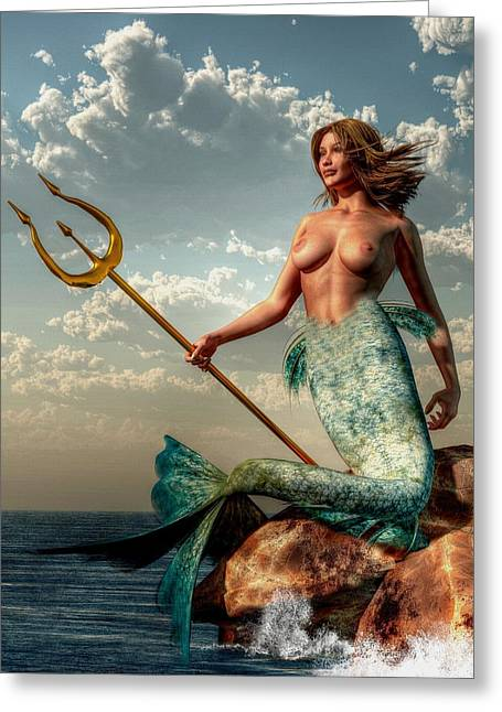 Greeting Card featuring the painting Mermaid With Golden Trident by Kaylee Mason
