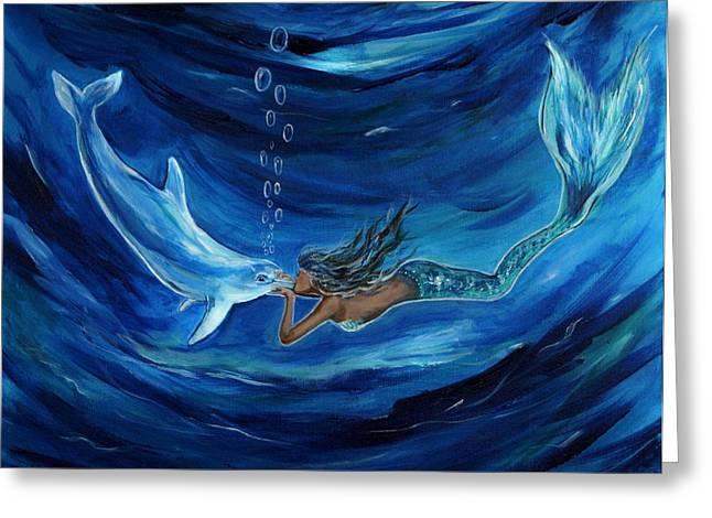 Mermaids Dolphin Buddy Greeting Card