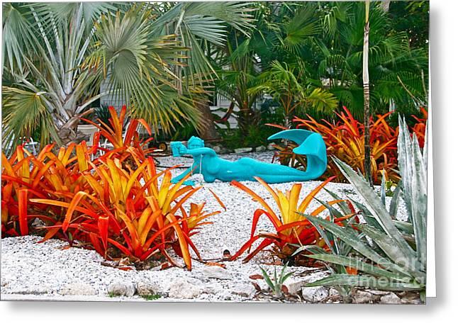 Mermaids Leisure Garden Greeting Card by Joan McArthur