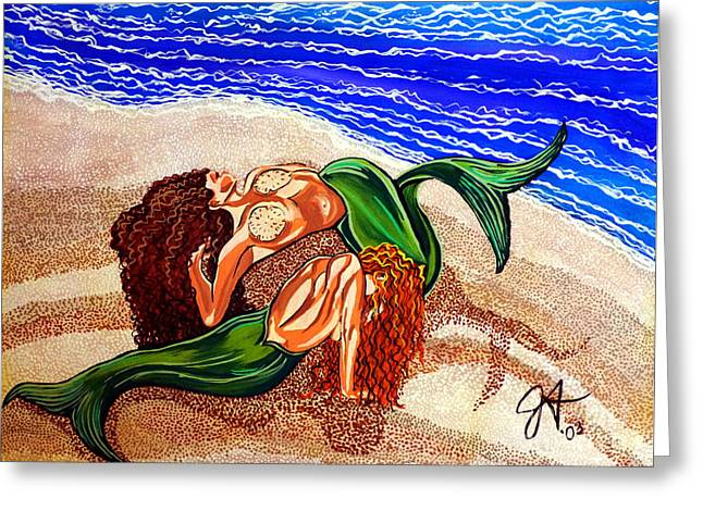 Mermaids Spent Jackie Carpenter Greeting Card by Jackie Carpenter