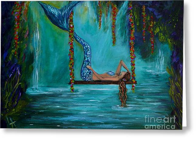 Mermaids Tranquility Greeting Card by Leslie Allen