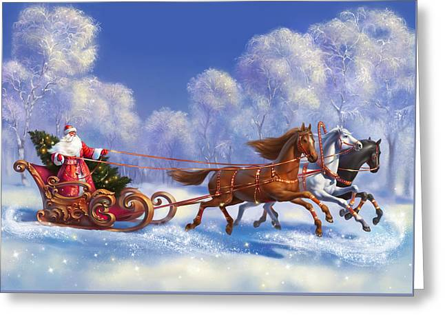 Merry Christmas And New Year Greetings Greeting Card by Eldar Zakirov