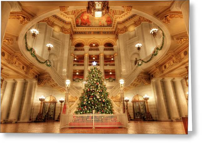 Merry Christmas From Pennsylvania Greeting Card by Lori Deiter