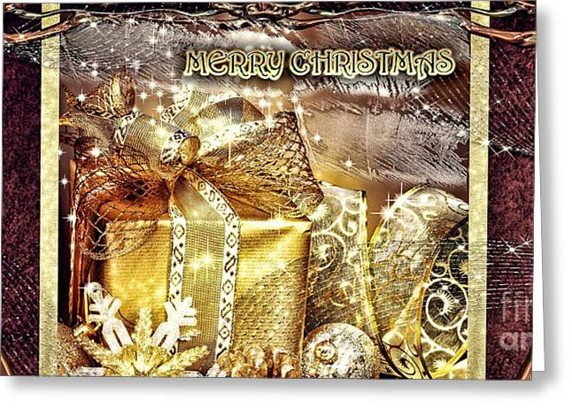 Merry Christmas Gold Greeting Card by Mo T