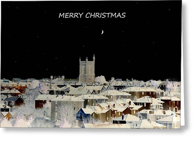 Merry Christmas Greeting Card Greeting Card by Bishopston Fine Art