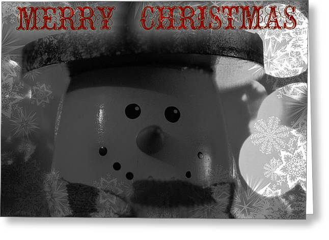 Merry Christmas Snowman Greeting Card by Dan Sproul