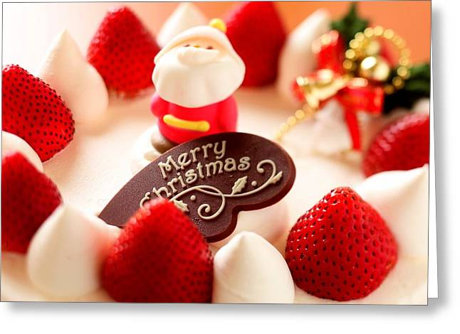 Merry Christmas In Strawberries Greeting Card by Doc Braham