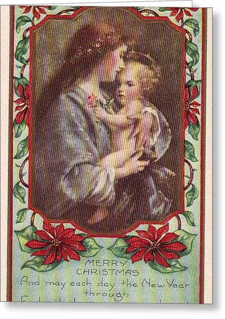 Merry Christmas Virgin And Child Greeting Card by Olde Time  Mercantile