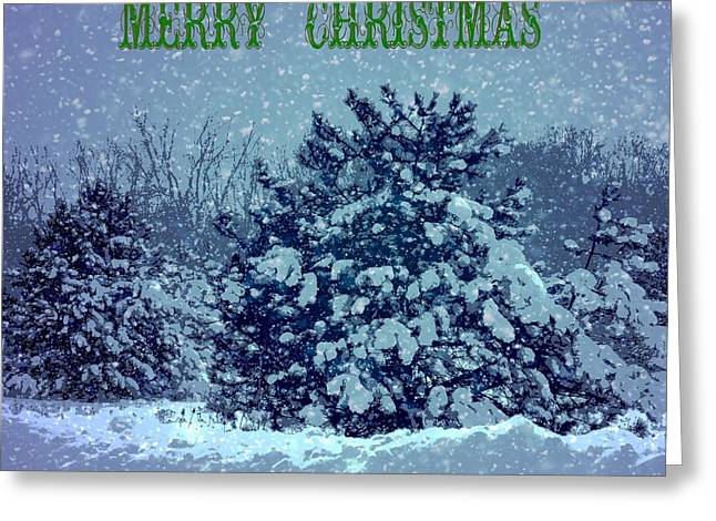 Merry Christmas Winter Scene Greeting Card