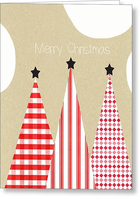 Merry Christmas With Red And White Trees Greeting Card by Linda Woods