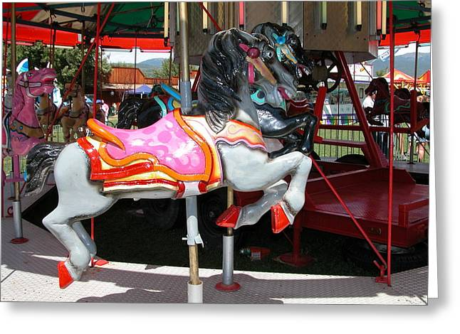Greeting Card featuring the photograph Merry-go-round Horse by Mary M Collins