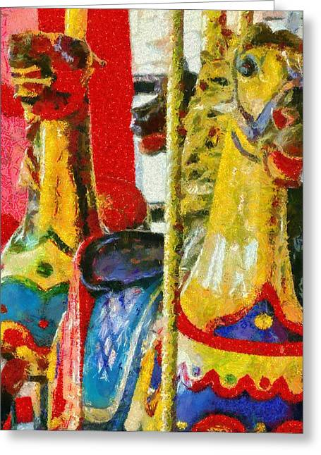 Merry Go Round Horses Greeting Card by Dan Sproul