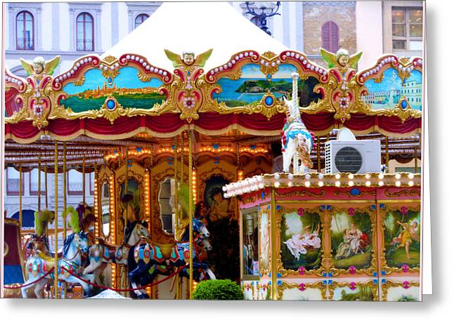 Merry Go Round Greeting Card by Mindy Newman