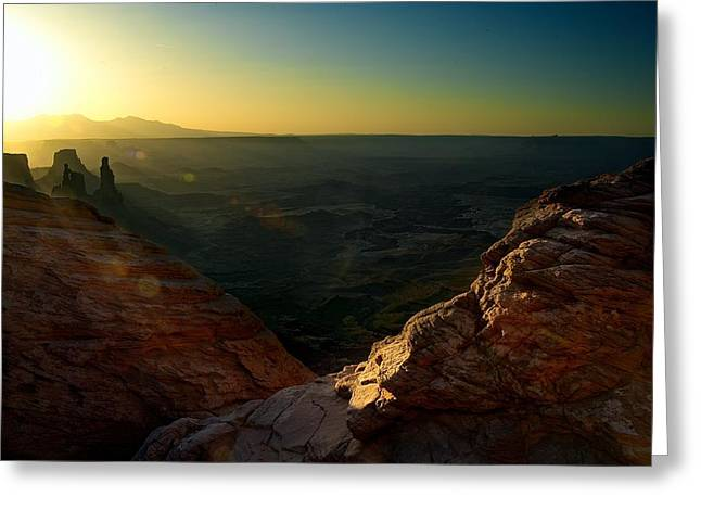 Mesa Arch Without The Arch Greeting Card by Mark Garbowski