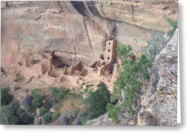 Greeting Card featuring the photograph Mesa Verde Colorado Cliff Dwellings 1 by Richard W Linford