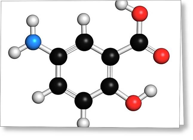 Mesalazine Bowel Disease Drug Molecule Greeting Card by Molekuul