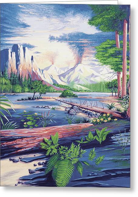 Mesozoic Landscape Greeting Card