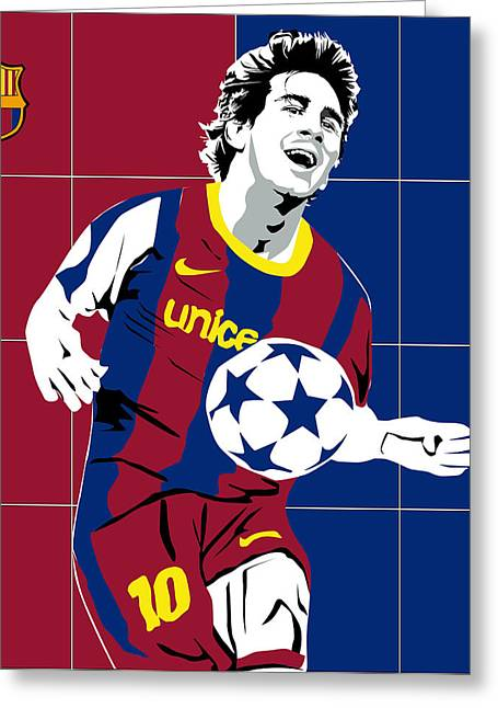 messi Football Greeting Card by Roby Marelly