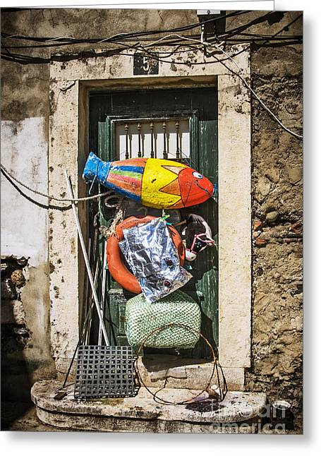 Messy Door Greeting Card by Carlos Caetano