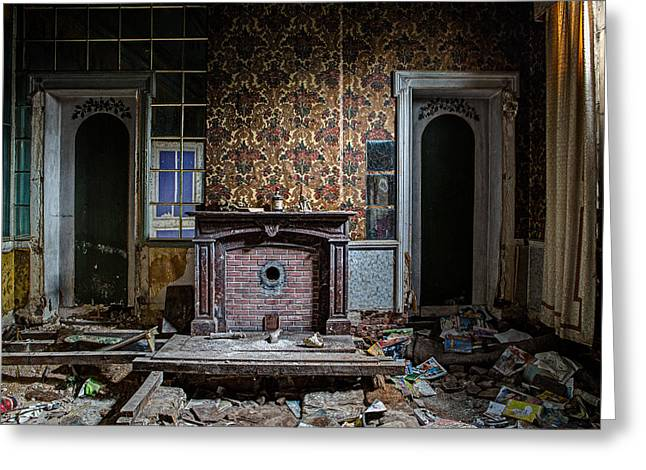 Messy Living Room Abandoned House Greeting Card by Dirk Ercken