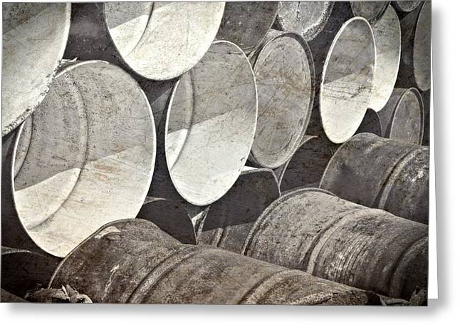 Metal Barrels 1bw Greeting Card by Rudy Umans