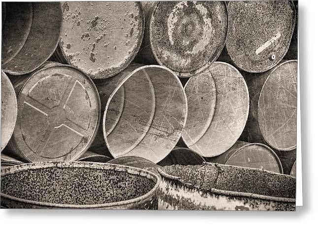 Metal Barrels 2bw Greeting Card by Rudy Umans
