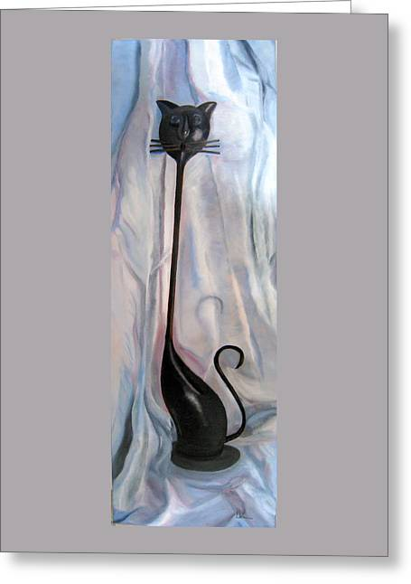 Greeting Card featuring the painting Metal Cat by LaVonne Hand